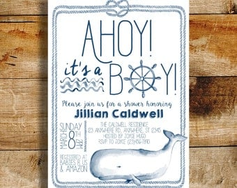 Nautical baby shower invitation | baby shower | ahoy! It's a boy! | baby boy shower invite