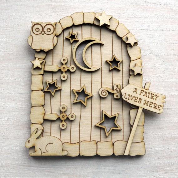 3d wooden fairy house elf stars door plain by for Wooden elf door