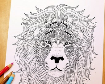 Fluffy Lion Head - Adult Coloring Page Print