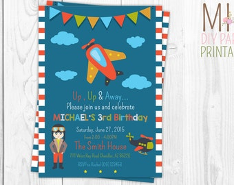 Airplane Invitation, Airplane Birthday Invitation, Airplane Party Invitation
