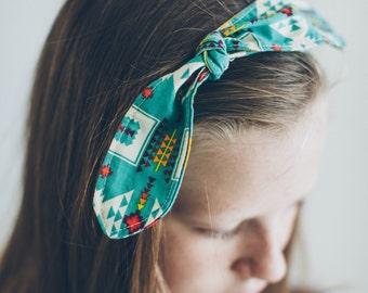 Turquoise Aztec Fabric Tie Headband