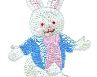 "Easter Bunny Sequin & Beaded Rabbit Applique 8 1/2"" x 7 1/4"" Sew On Dyngus Day Patch Craft w/ Free Shipping"