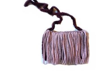 Pink on aubergine toddler fringe purse