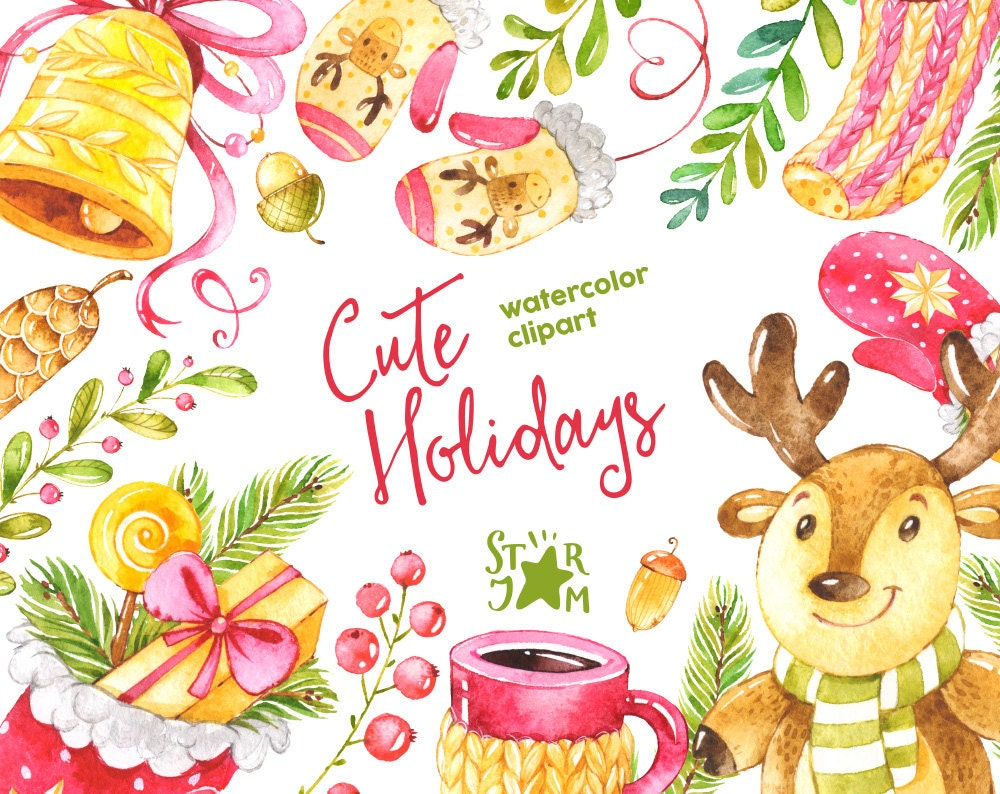 Cute Holidays Watercolor Clipart Christmas Winter Deer