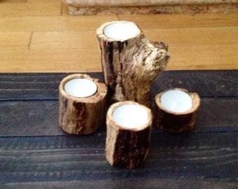 Northern coastline drift wood candle holder set of 4