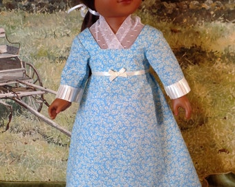 OOAK, Regency Dress and Fichu Scarf,  18 inch Doll Clothing such as American Girl, 1800's Historical Dress, Carpatina Pattern
