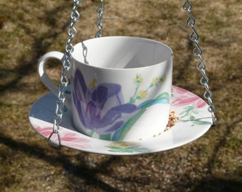 Tea Cup Bird Feeder with Purple, Pink, Yellow