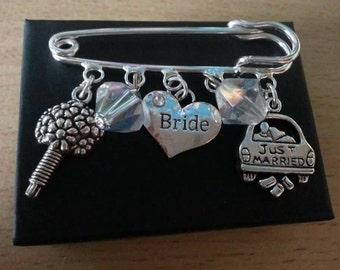 Bride brooch pin/bag charm