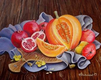 "Oil Painting Fall Still Life - Taste of Fall - Autumn Still Life Harvest Art Original Oil Painting On Canvas Size: ""16x20"" (40cm x 50cm)"