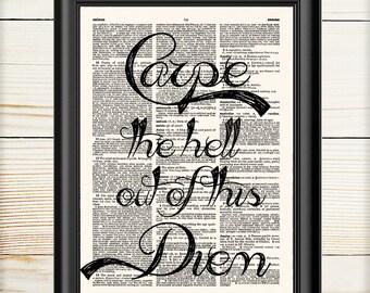 Carpe Diem, Typography Print, Inspirational Wall Art, Dictionary Print, Book Print, 011