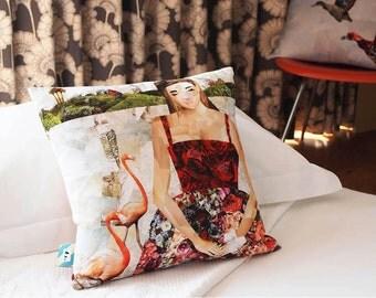 Lady & Flamingo Cushion