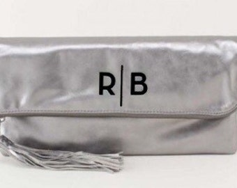 Monogrammed Fold Over Clutch