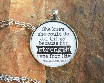 Her Strength Came From Him Necklace
