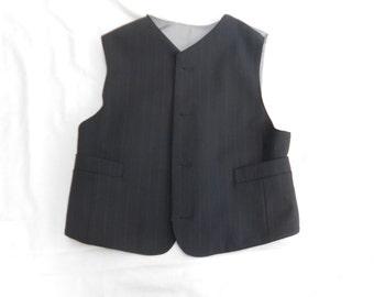 Victorian-Style Black Wool Pinstripe Waistcoat. Victorian-Style. High-Necked Gilet. Jerkin.