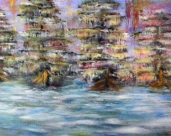 Home returns.. -  ORIGINAL acrylic painting sea ships art on hardboard | Size: 11'' x 23'' (30cm x 60cm)