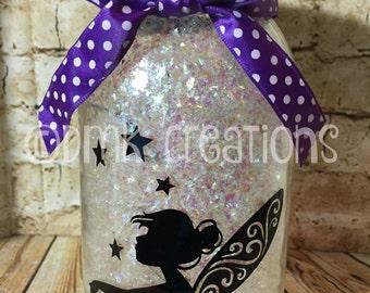 Fairy Lighted Glittered Mason Jar, fairy, pixie, mason jar, lighted mason jar, fairy lights, cute, gift, birthday gift, glitter mason jar