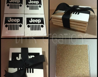 Jeep Grill Coasters, jeep, drink coasters, tile coasters