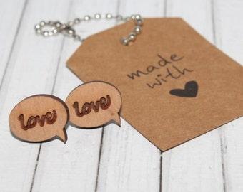 Love Speech Bubble Laser Cut Bamboo Wood Stud Earrings