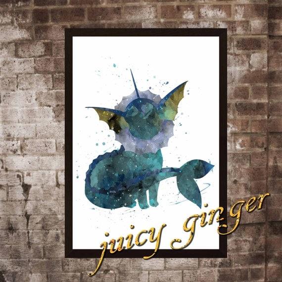 pokemon vaporeon poster anime watercolor home decor art