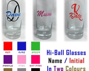 Personalised Hi-Ball Tumbler Mixer Glass Name & Initial in 2 Colours