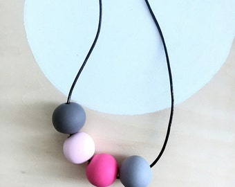 modern pink grey polymer clay necklace handmade by accentvault | unique wabi sabi gift for her