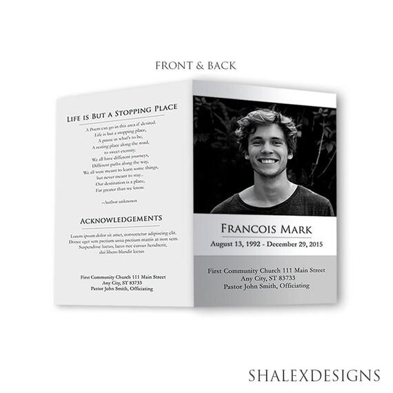 funeral program template photoshop psd instant download. Black Bedroom Furniture Sets. Home Design Ideas