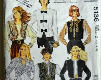 1990s McCall's Vintage Sewing Pattern 5136, Size 12-14; Misses' Lined Jackets or Vests