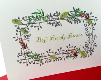 Best Friends Forever - all occasion card with pretty twig + leaf design