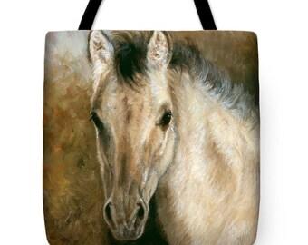 Horse Tote Bag, Canvas Tote Bag, Small Tote Bag, Kiger Mustang
