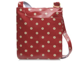 Oilcloth Crossbody bag - Polka dot bag - Ladies Purse - Ladies Handbag - Fabric Satchel - Oilcloth bag - Oil cloth bag - Laminated cotton