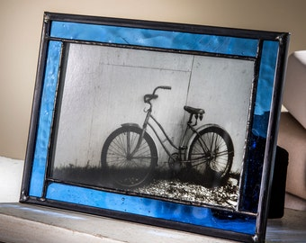 Blue Glass Picture Frame 4x6 Easel Back Frame Horizontal or Vertical Stained Glass Photo Frame Home Decor Gift Pic 324-46HV