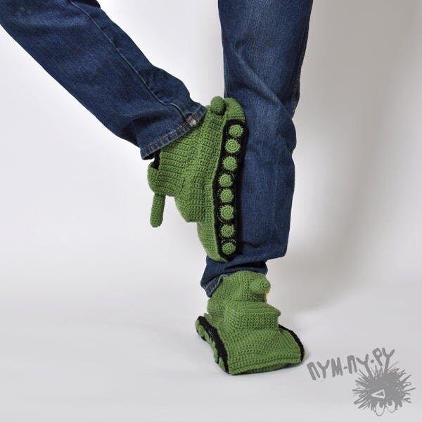 Slippers Crochet Tank Slippers Knitted Tank Slippers Green