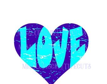 Heart Love  distressed  SVG Cut file  Cricut explore filescrapbook vinyl decal wood sign cricut cameo Commercial use