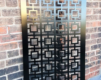 Privacy Screen Metal Garden Fence Decor Art - Square 1