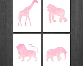 Pink Nursery Decor - Jungle Animal Nursery - Jungle Nursery Decor - Safari Nursery - Nursery Wall Art - Pink Nursery Art - Baby Shower Gift