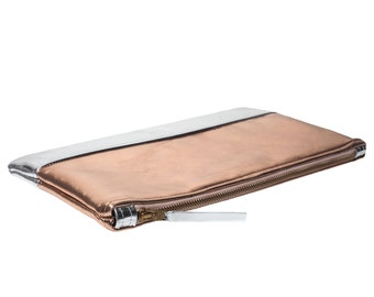 "Clutch ""Mark"" - copper / silver - leather"