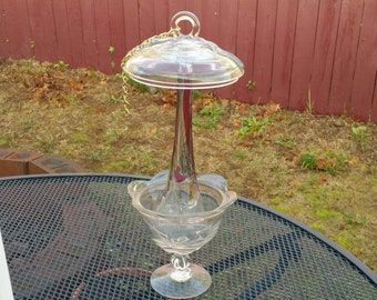 Abstract Glass Candy Dish Bird Feeder