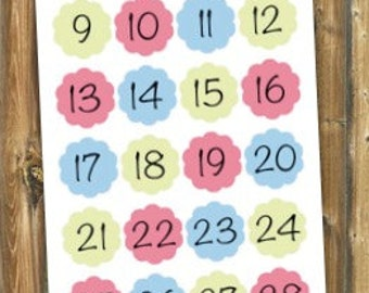 Scalloped Number Planner Stickers
