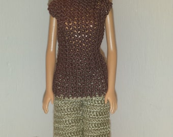 Crochet Barbie Outfit, Fashion Doll Crocheted Slacks and Top, Handmade Barbie Pants and Blouse