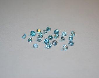 3 x 3 (0.17 ct.) Medium Blue Round Zircon Stones