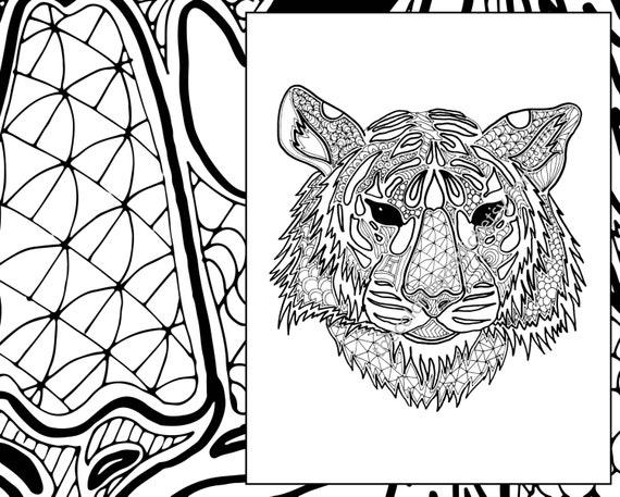 Digital tiger coloring sheet animal coloring pdf zentangle for Animal coloring pages pdf