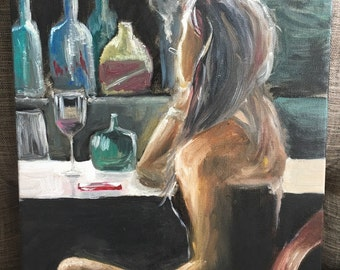 Smoking in a bar oil painting