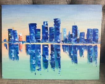 Cityscape morning oil painting