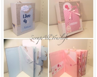Guestbook Album multipochettes for birth or christening boy or girl version