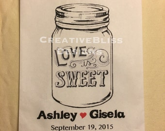 Rustic Personalized Love is Sweet Favor Bags White, Glassine Lined