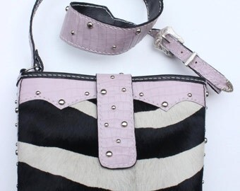 Monique- Pink/Zebra/Cow on Hide/Bucket Style Shoulder Bag