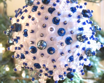 Medium Blue and White Ornament