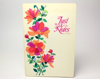 Vintage Pink Floral Fold-Over Notecards + Gold Seals - Just-A-Note Cards Current Inc - Postalette Retro Flowers -  Made in the USA