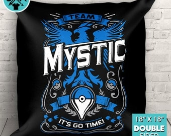 "Team Mystic Go Video Game Inspired Couch Pillow Decorative Pillow Throw Pillow 18""x18"""