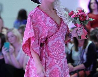 Dusky Pink Damask Brocade Kimono/Dress OOAK re-used Fabric A-Line,Fringed Bohemian Chic Unique